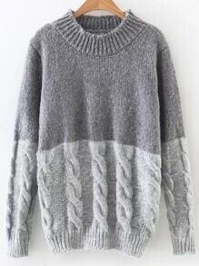 Jersey de punto trenzado de color combinado - gris