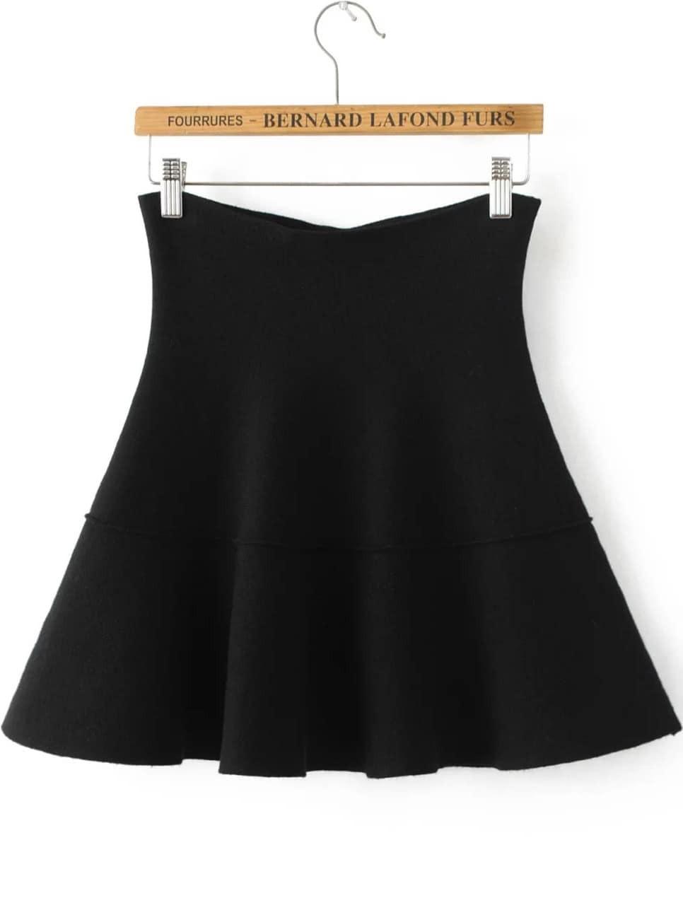 Black Pleated Knit Skirt