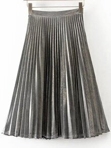 Falda plisada línea A - gris