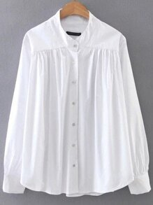 White Button Up Curved Hem Blouse