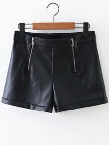 Buy Black Zipper Detail PU Shorts