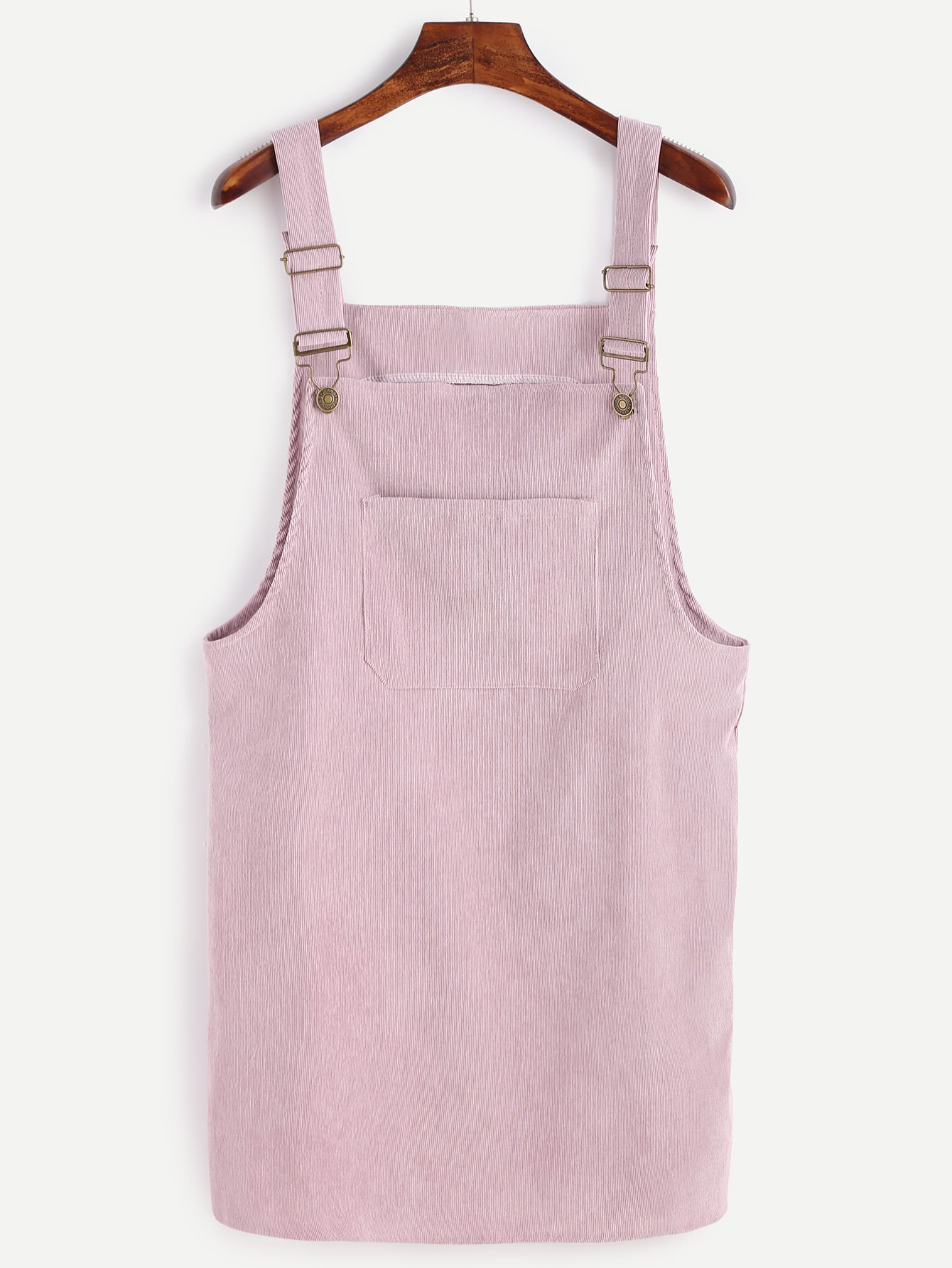 Pink Corduroy Overall Dress With Pocket