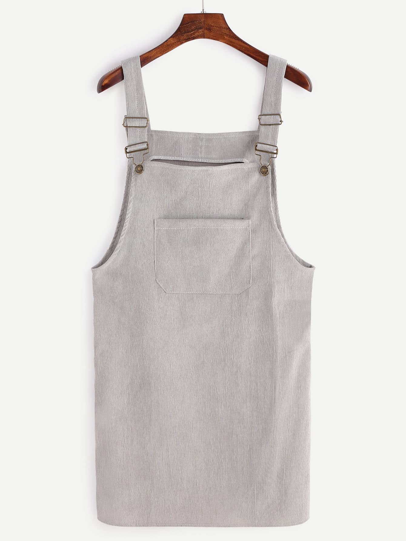 Grey Corduroy Overall Dress With Pocket