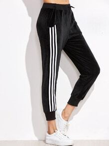 Black Striped Side Drawstring Waist Sport Pants