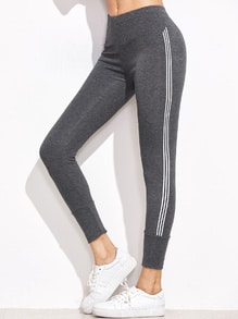 Grey Striped Side High Waist Leggings