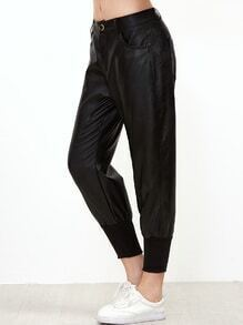 Black PU Capri Pants With Pockets
