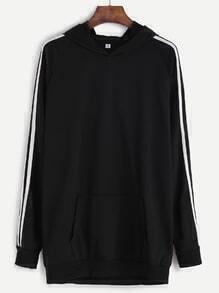 Sudadera ribete de rayas con capucha - negro