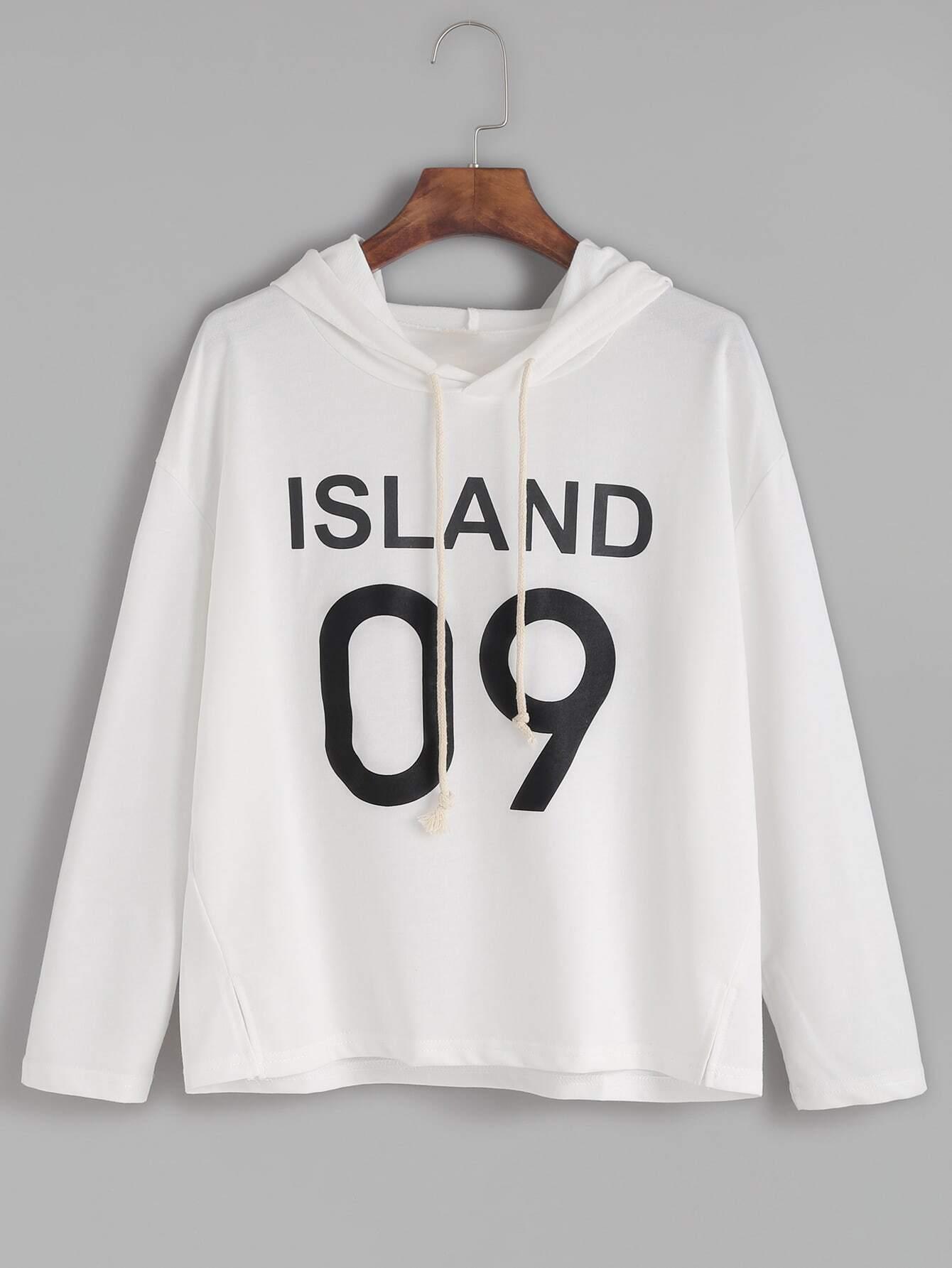 White Letter Print Slit Side Hooded T-shirt