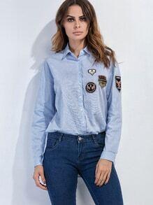 Chemise avec patch avec bouton - bleu