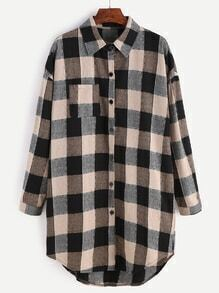 Check Plaid Drop Shoulder Curved Hem Shirt Dress