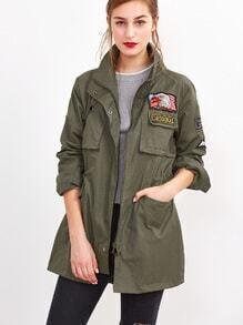 Cazadora con parche de bordado - verde militar