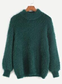 Jersey de mohair con hombros caídos - verde oscuro