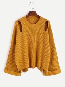 Jersey con abertura casual - amarillo