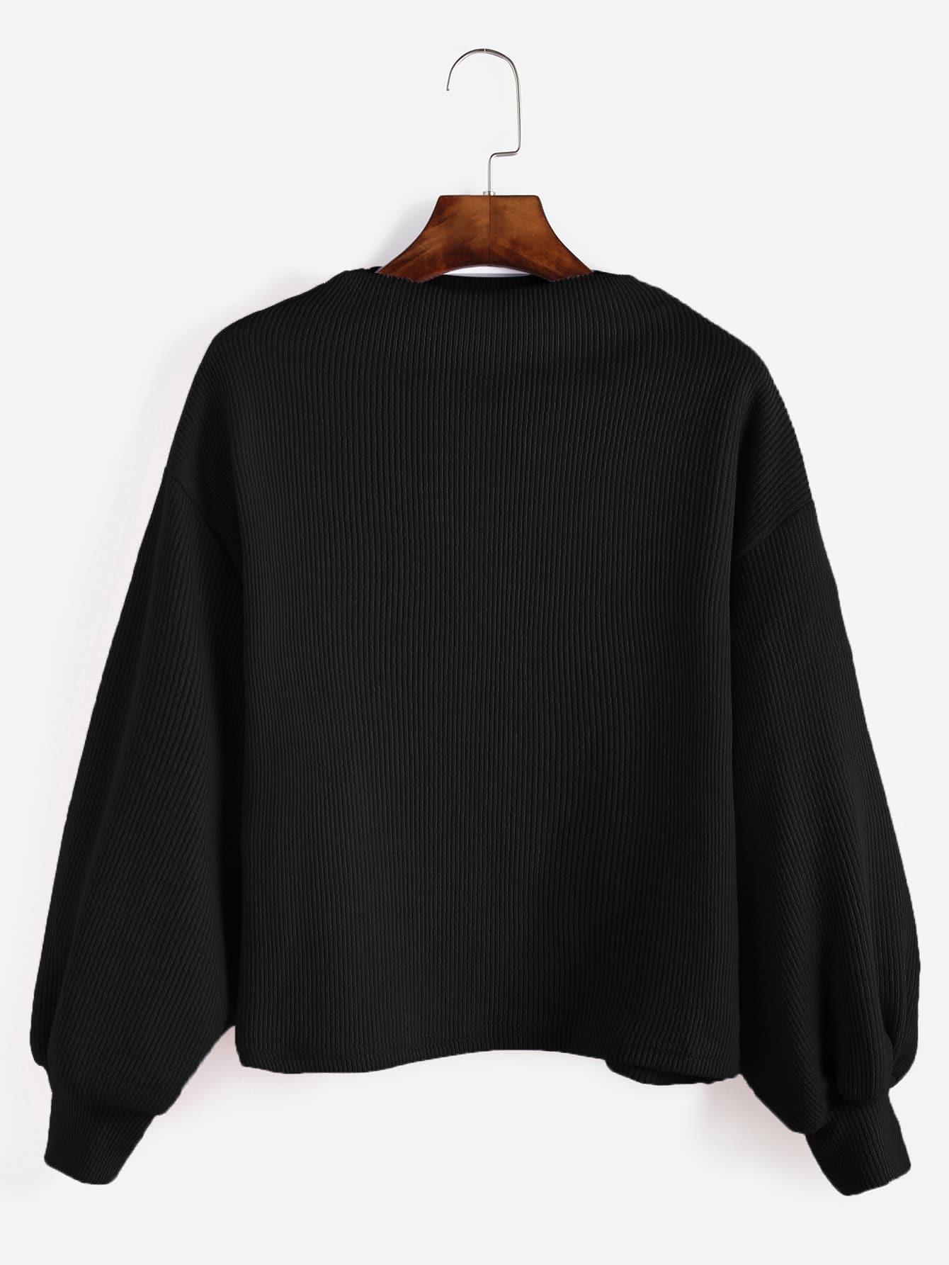 Black Ribbed Lantern Sleeve Sweater