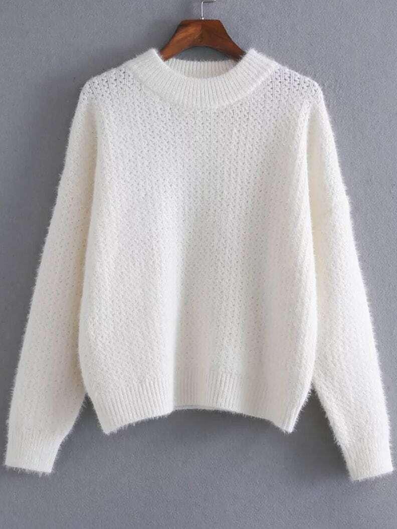 White Ribbed Trim Crew Neck Sweater