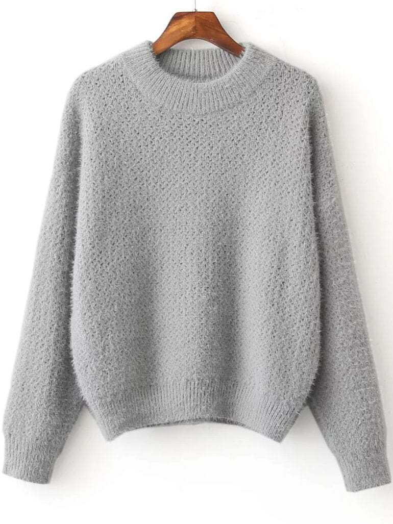Grey Ribbed Trim Crew Neck Sweater