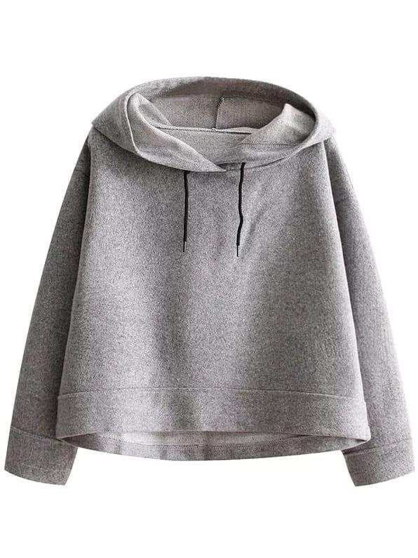 Grey Crop Hooded Loose Sweatshirt