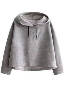 Grey Crop Hooded Loose Sweatshirt