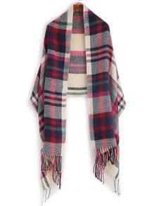 Beige And Red Plaid Fringe Edge Shawl Scarf