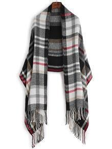 Black And White Plaid Fringe Edge Shawl Scarf