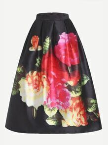 Black Flower Print Flare Skirt With Zipper