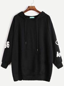 Sweat-shirt imprimé manche raglan avec poche et capuche - noir