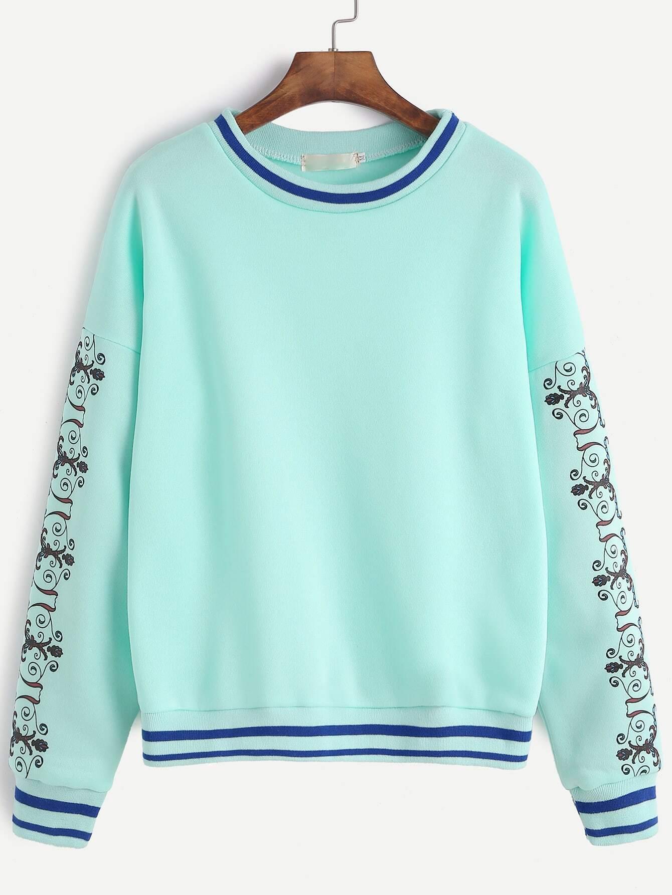 Pale Green Sleeve Print Striped Trim Drop Shoulder Sweatshirt