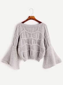 Light Grey Bell Sleeve Textured Sweater