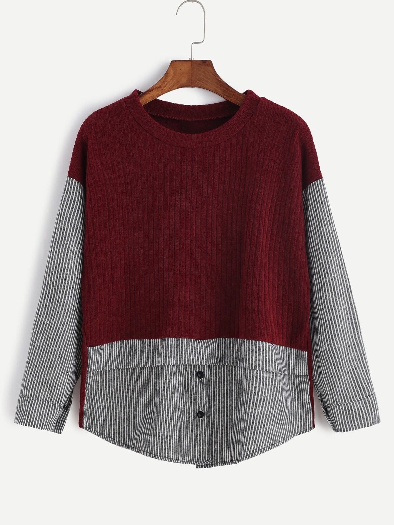 Burgundy Contrast Striped Ribbed Knit Sweater With Button Detail