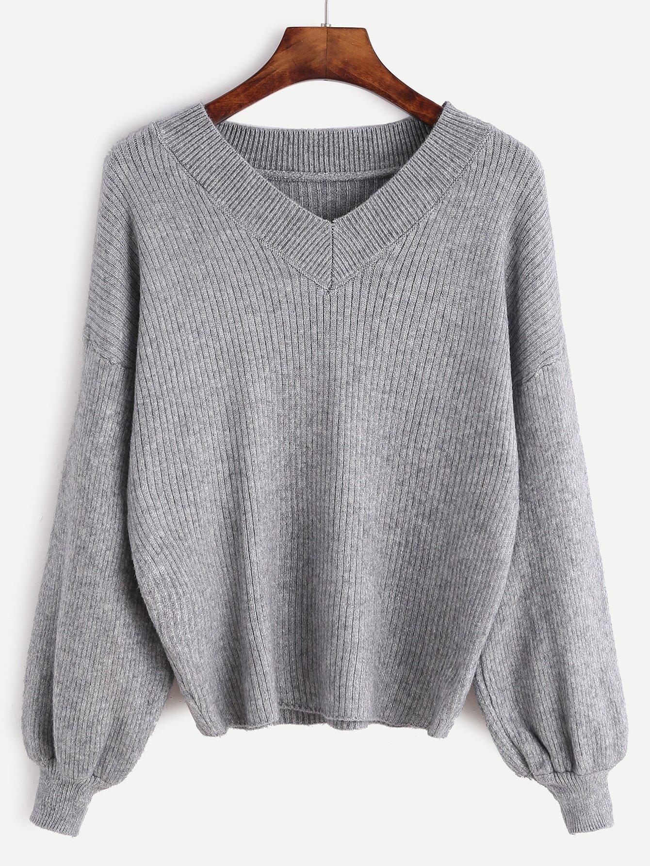 V Neck Drop Shoulder Lantern Sleeve Ribbed Knit Sweater