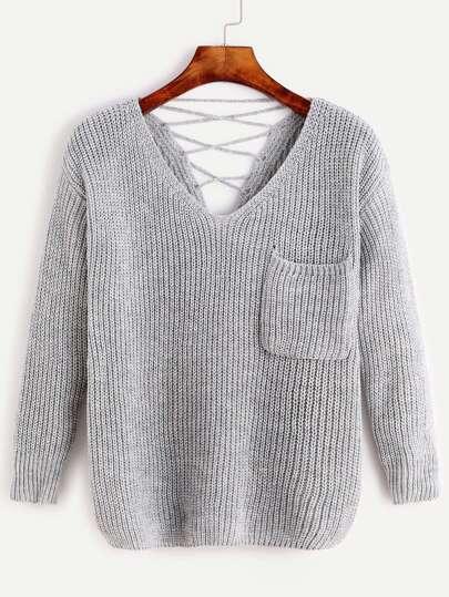 Pale Grey V Neck Lace Back Pocket Sweater