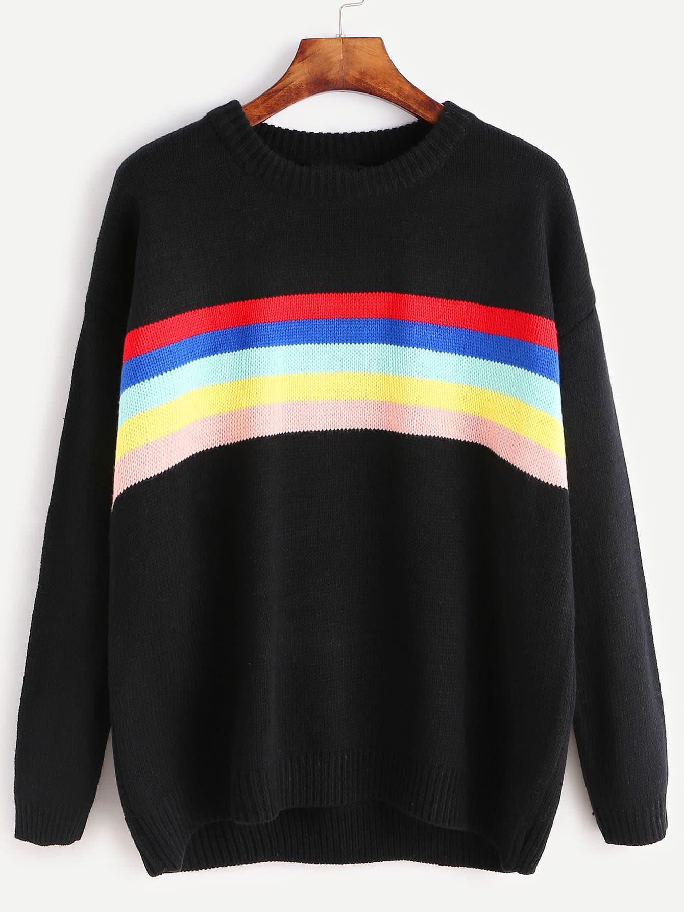 Black Dropped Shoulder Seam Rainbow Striped Sweater