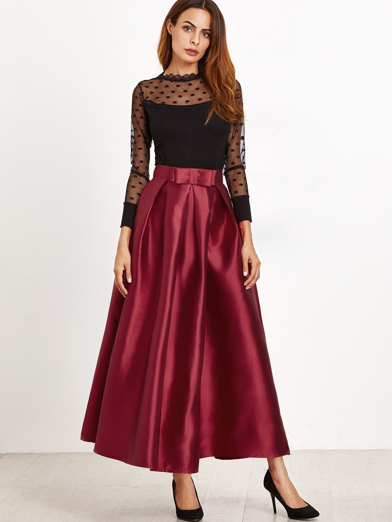 how to wear burgundy skirt