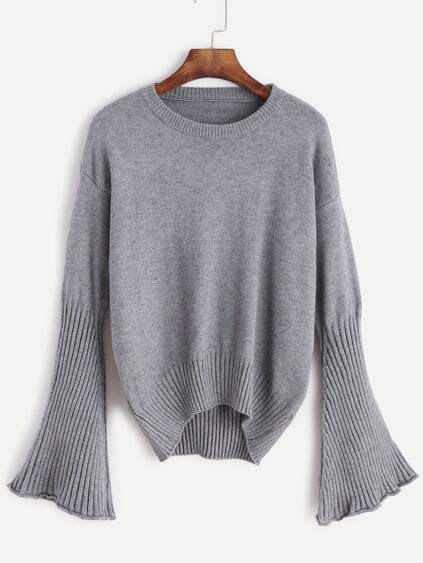Grey Drop Shoulder Bell Sleeve Dip Hem Sweater