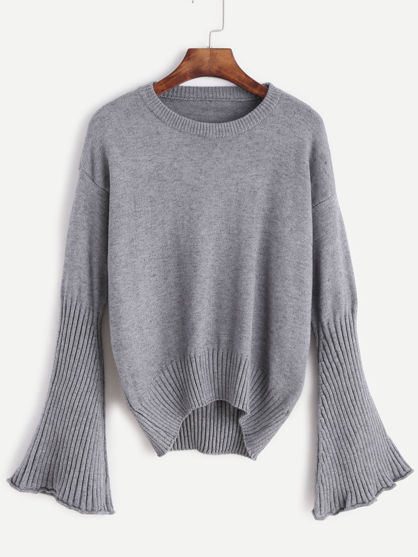 Grey Drop Shoulder Bell Sleeve Dip Hem Sweater