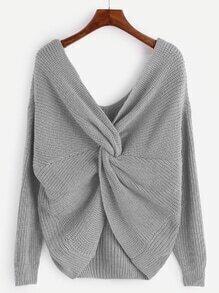 Grey V Neck Knot Sweater