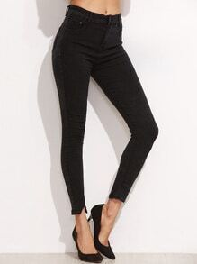 Black Split Hem Ankle Jeans