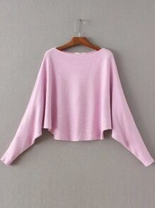 Jersey de manga de murciégalo con cuello barco - rosa
