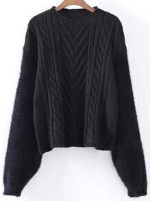Black Cable Knit Drop Shoulder Mohair Sweater