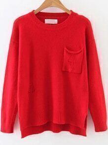 Jersey asimétrico con bolsillo - rojo