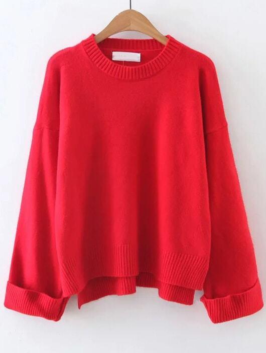 Red Ribbed Trim Dip Hem Sweater