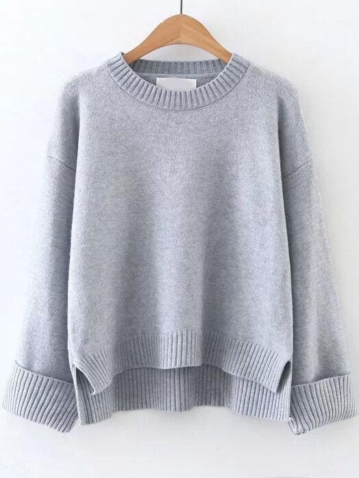 Grey Ribbed Trim Dip Hem Sweater