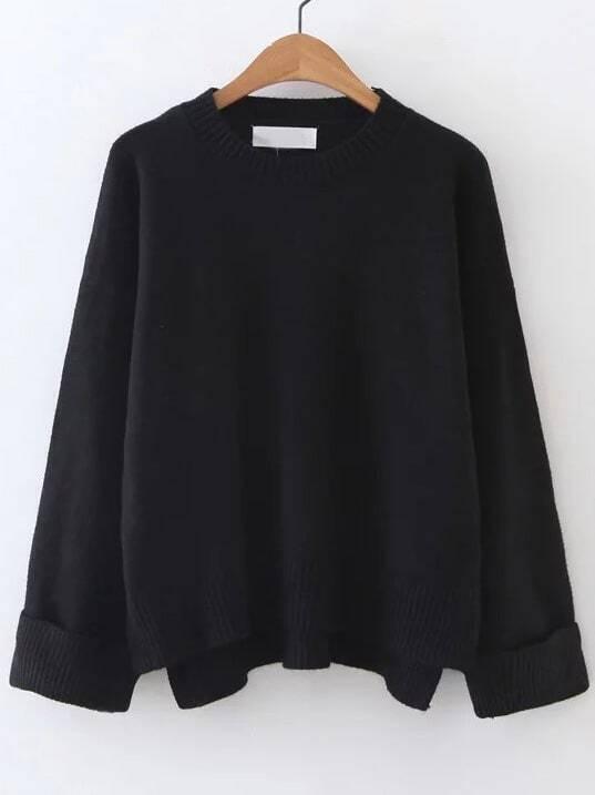Black Ribbed Trim Dip Hem Sweater sweater161024235