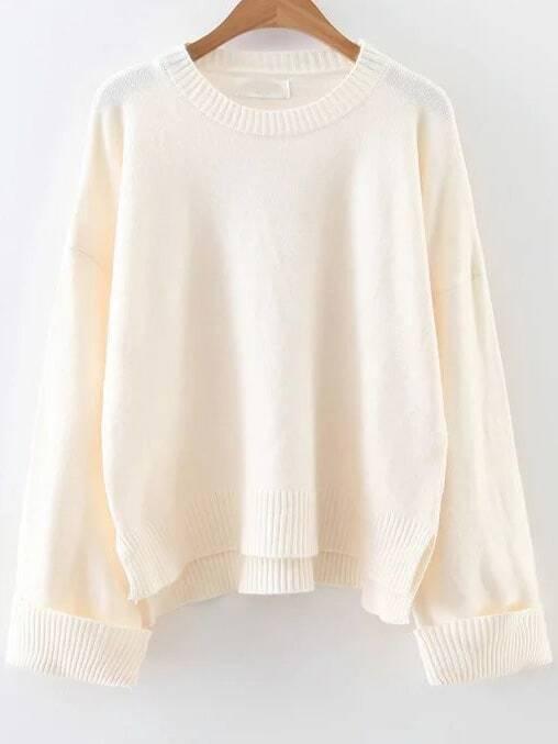 White Ribbed Trim Dip Hem Sweater sweater161024236