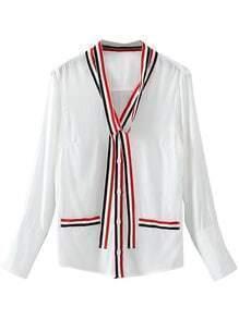 Blusa con ribete a rayas - blanco