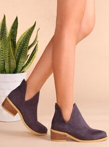 Purple Faux Suede Cork Heel Ankle Booties