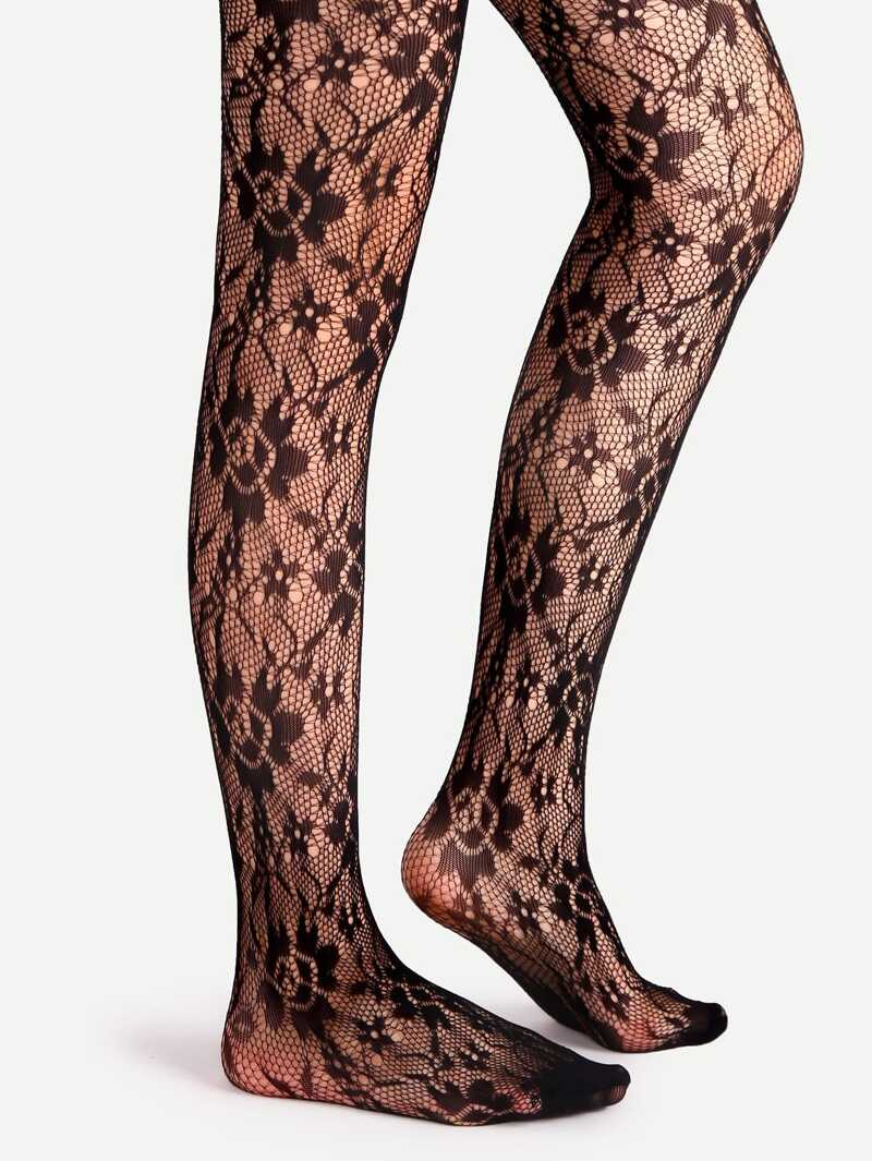 Black Floral Pattern Jacquard Pantyhose Stockings