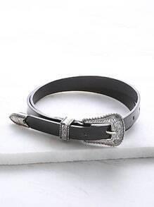Black Faux Leather Carved Buckle Belt
