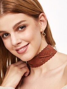 Brown Crisscross Band Wide Choker Necklace