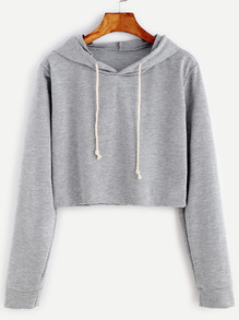 Pale Grey Drawstring Hooded Crop Sweatshirt